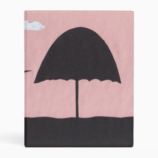 Pink Binder with Silhouetted Beach Umbrella