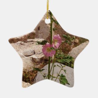 Pink Bindweed Ceramic Ornament