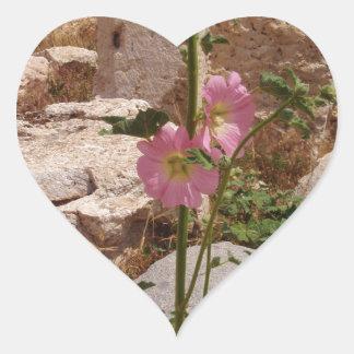 Pink Bindweed Heart Sticker