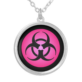 Pink Biohazard Symbol Silver Plated Necklace