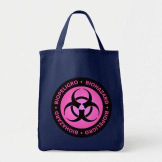 Pink Biohazard Warning Tote Bag