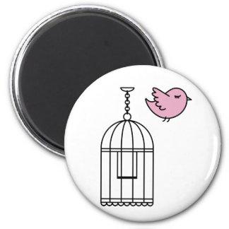 Pink Bird and Birdcage 2 Inch Round Magnet