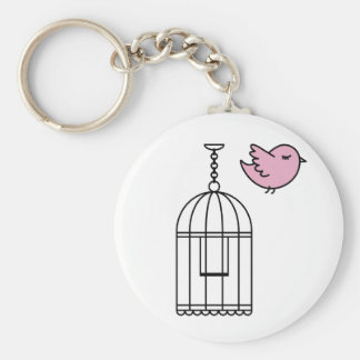 Pink Bird and Birdcage Keychain