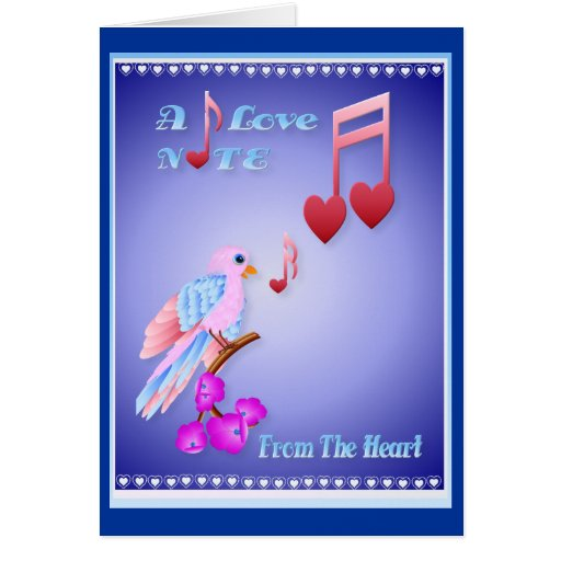 Pink Bird and Love Notes-lettered Card