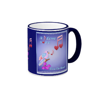 Pink Bird and Love Notes-lettered Mugs