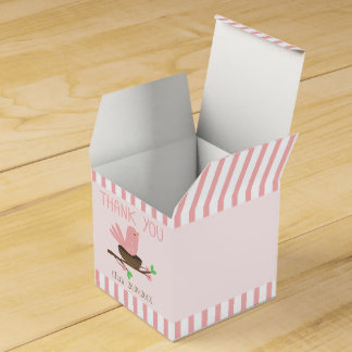 Pink Bird And Nest Baby Shower Favor Box