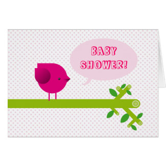 Pink bird baby shower card