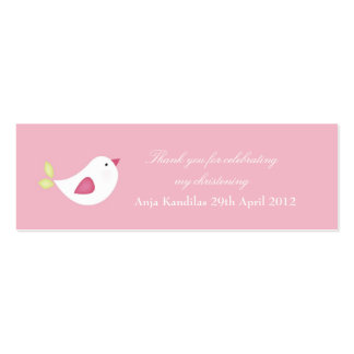 Pink Bird Baby Shower / Christening Tags Mini Business Card