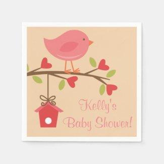 Pink Bird Baby Shower Napkins Standard Cocktail Napkin