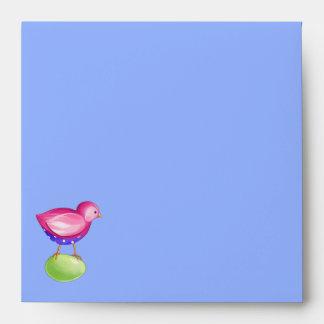 Pink Bird blue Invitation Envelope