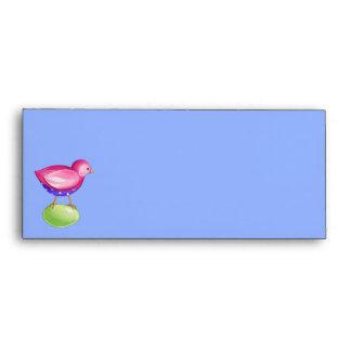 Pink Bird blue Letterhead Envelope
