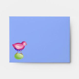 Pink Bird blue Note Card envelope