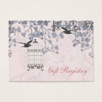 pink bird cage, love birds Gift registry  Cards