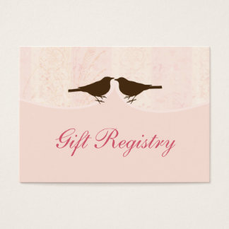 pink bird cage, love birds Gift registry  Cards