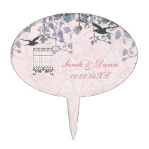 pink bird cage, love birds personalized cake picks