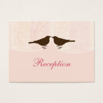 pink bird cage, love birds wedding reception cards