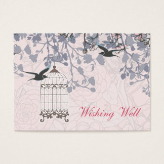 Pink bird cage, love birds wishing well cards