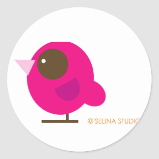 Pink Bird Classic Round Sticker