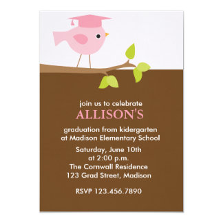 Pink Bird Graduation Party Invitations