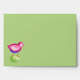 Pink Bird green Card envelope