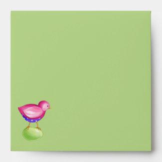 Pink Bird green Invitation Envelope