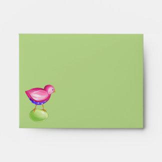 Pink Bird green Note Card envelope