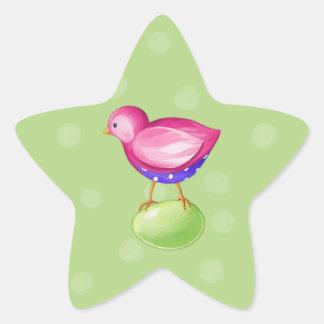 Pink Bird green Star Sticker