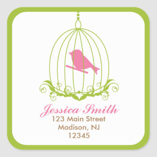 Pink Bird in cage Square Sticker