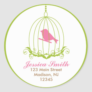 Pink Bird in cage Stickers