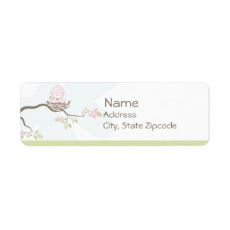 Pink Bird in Nest Return Address Label