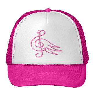 Pink bird music trucker hat