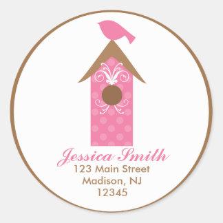 Pink Bird on Birdhouse Classic Round Sticker