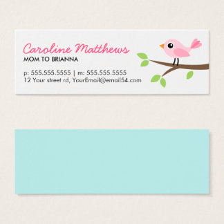 Pink bird on branch cute mom mommy calling card