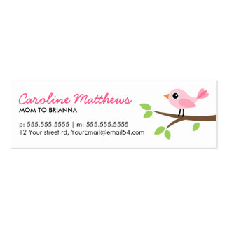 Pink bird on branch cute mom mommy calling card Double-Sided mini business cards (Pack of 20)