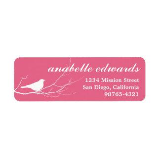 Pink bird on branch modern custom return address label