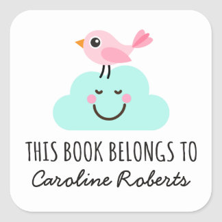 Pink bird on happy cloud cute bookplate