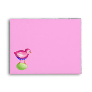 Pink Bird pink Note Card envelope
