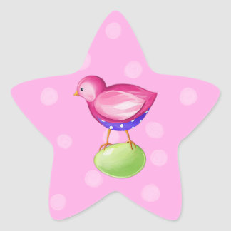 Pink Bird pink Star Sticker