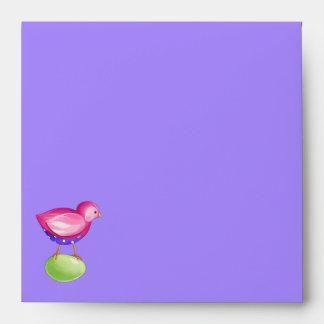 Pink Bird purple Invitation Envelope