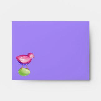 Pink Bird purple Note Card envelope