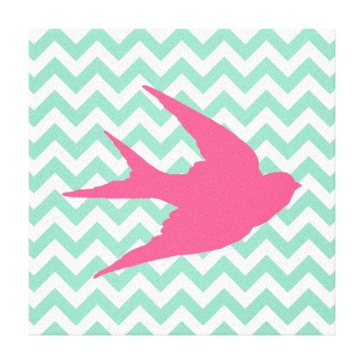 Pink Bird Silhouette on Chevron Stripes Canvas Prints