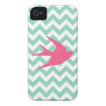 Pink Bird Silhouette on Chevron Stripes Case-Mate iPhone 4 Cases
