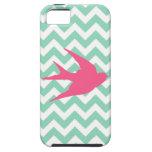 Pink Bird Silhouette on Chevron Stripes iPhone 5 Cases
