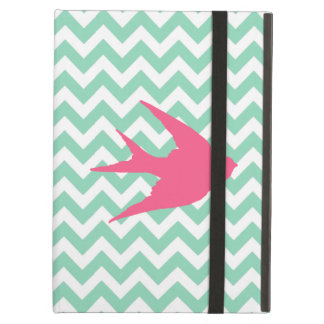 Pink Bird Silhouette on Chevron Stripes iPad Air Covers