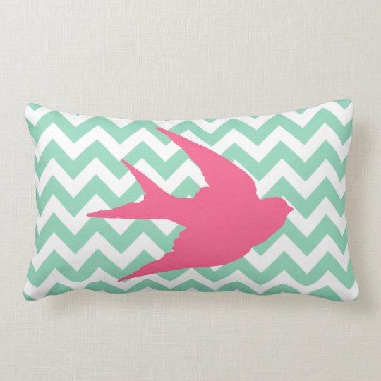 Pink Bird Silhouette on Chevron Stripes Lumbar Pillow