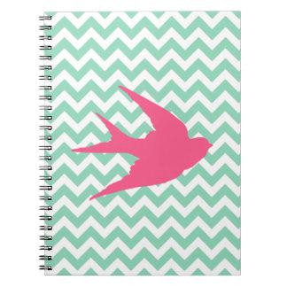 Pink Bird Silhouette on Chevron Stripes Notebook