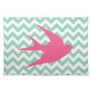 Pink Bird Silhouette on Chevron Stripes Placemat