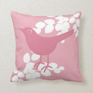 Pink Bird Throw Pillow