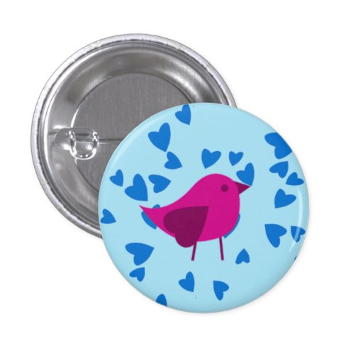 Pink bird with blue hearts pins
