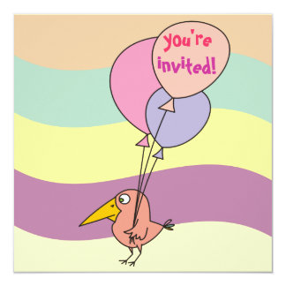 Pink Bird with Three Balloons Party Invites